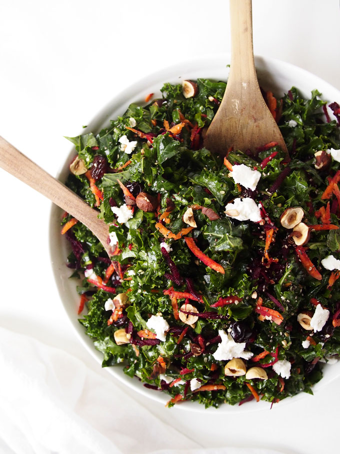 Northwest Kale Salad with Goat Cheese and Hazelnuts