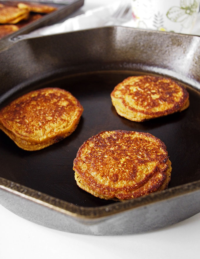 Pumpkin Cornmeal Pancakes for Two | The Kitchen Paper