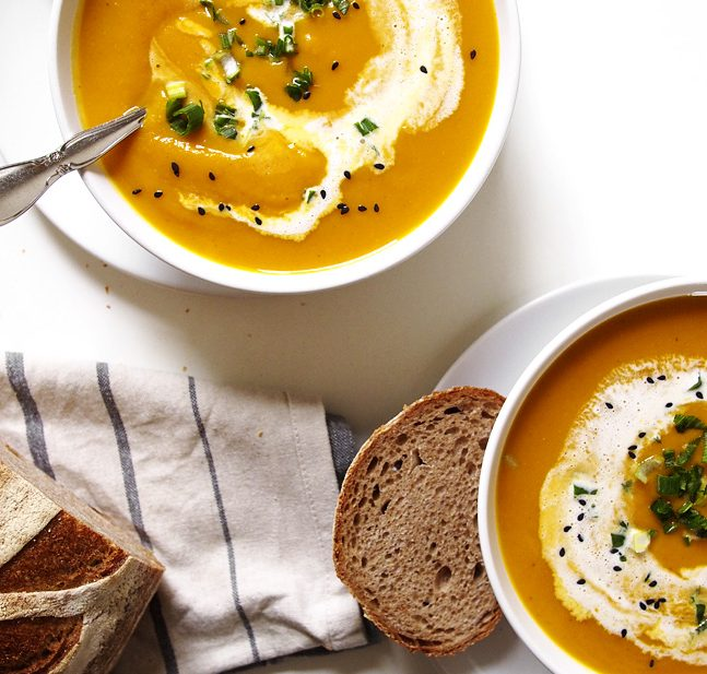 Green Curry Kabocha Squash Soup with Black Sesame | the kitchen paper