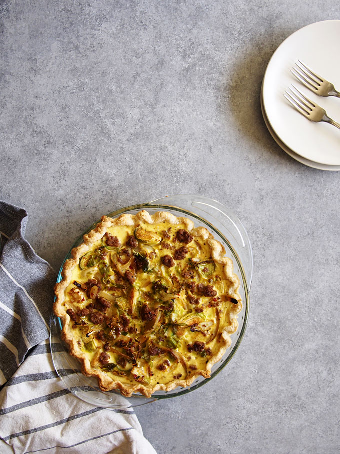 Brussels Sprouts and Spicy Sausage Ricotta Quiche | the kitchen paper