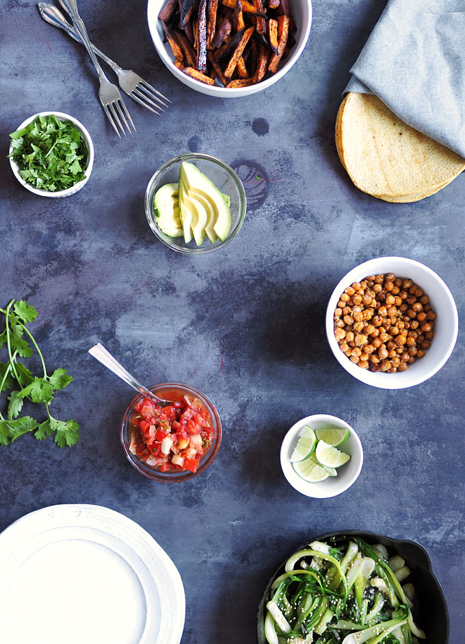Crispy Chipotle Chickpea Tacos with Sweet Potato and Bok Choy | thekitchenpaper.com