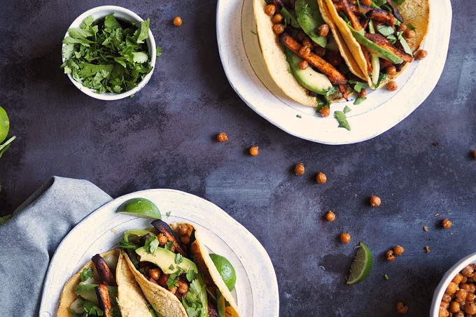 Crispy Chipotle Chickpea Tacos with Sweet Potato and Bok Choy