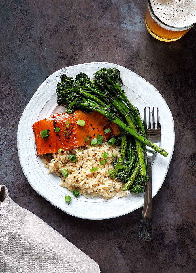 Teriyaki Salmon and Broccolini with Crushed Black Sesame Recipe | the kitchen paper