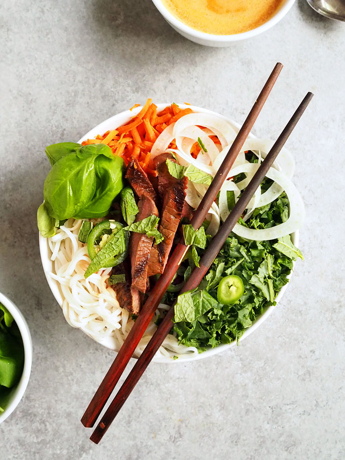 Easy Asian Fennel Beef Rice Noodle Bowls