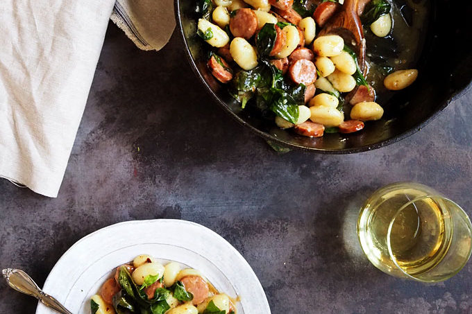 Brown Butter Basil Gnocchi with White Wine and Sausage | the kitchen paper