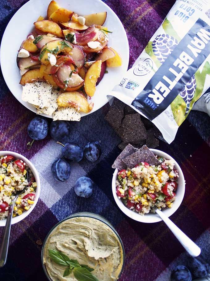 Summer Produce Picnic + Basil Hummus Recipe | thekitchenpaper.com