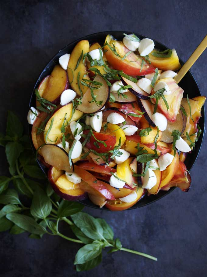 Stone Fruit & Heirloom Tomato Mozzarella Basil Salad