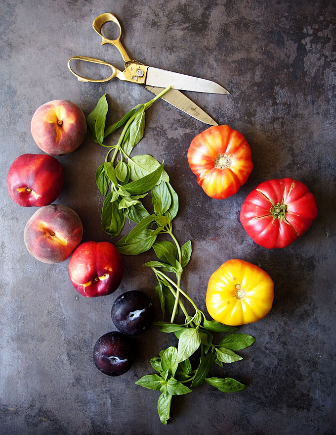 Stone Fruit Tomato Mozzarella Basil Salad Recipe | thekitchenpaper.com