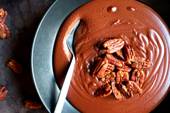 Warm Cocoa Chocolate Pudding with Smoked Paprika Candied Pecans