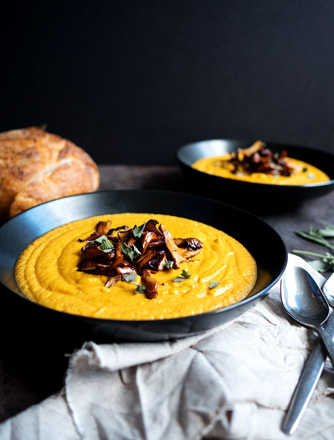 Butternut Squash Sweet Potato Bisque with Buttered Chanterelles