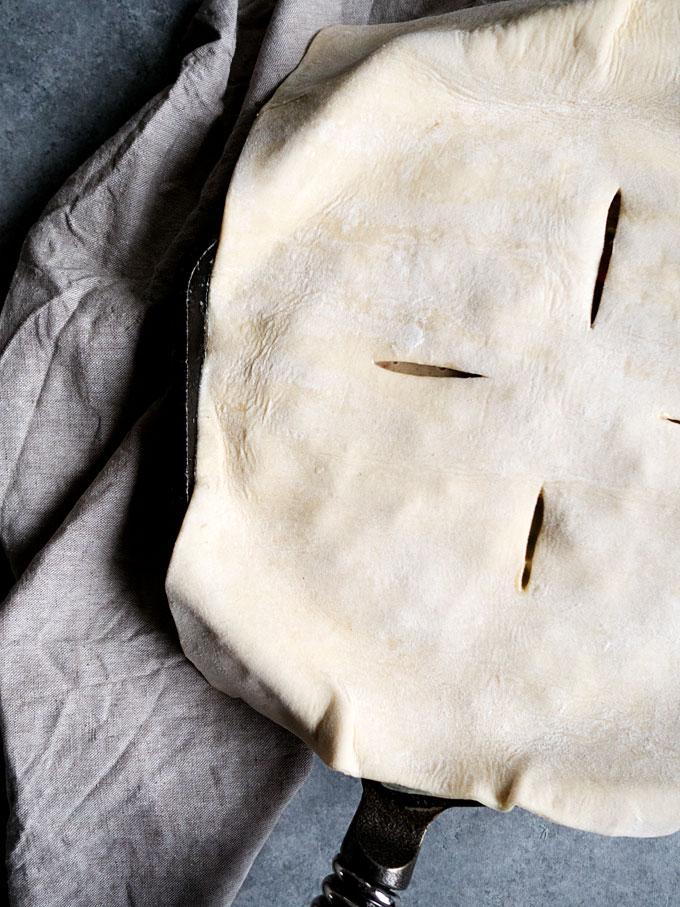 Wild Mushroom Chicken Skillet Pot Pie   thekitchenpaper.com