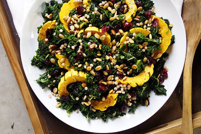 Warm Kale, Delicata, Pearl CousCous Salad (+PDX Holiday Brunch!)
