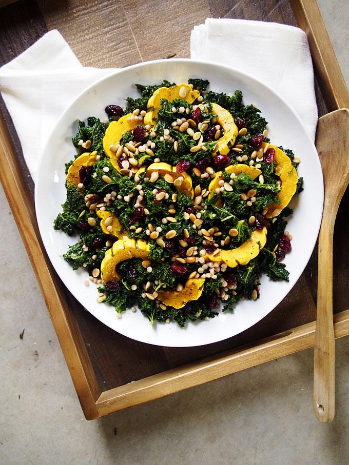 Warm Kale, Delicata, Pearl CousCous Salad (+PDX Holiday Brunch!) | thekitchenpaper.com