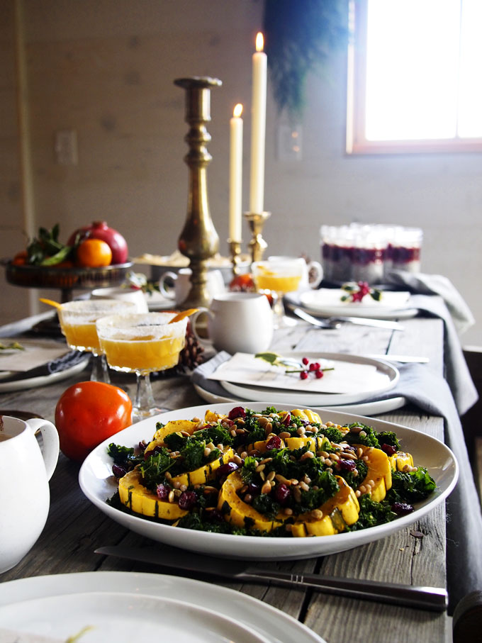 Warm Kale, Delicata, Pearl CousCous Salad (+PDX Holiday Brunch!) | thekitchenpaper.com