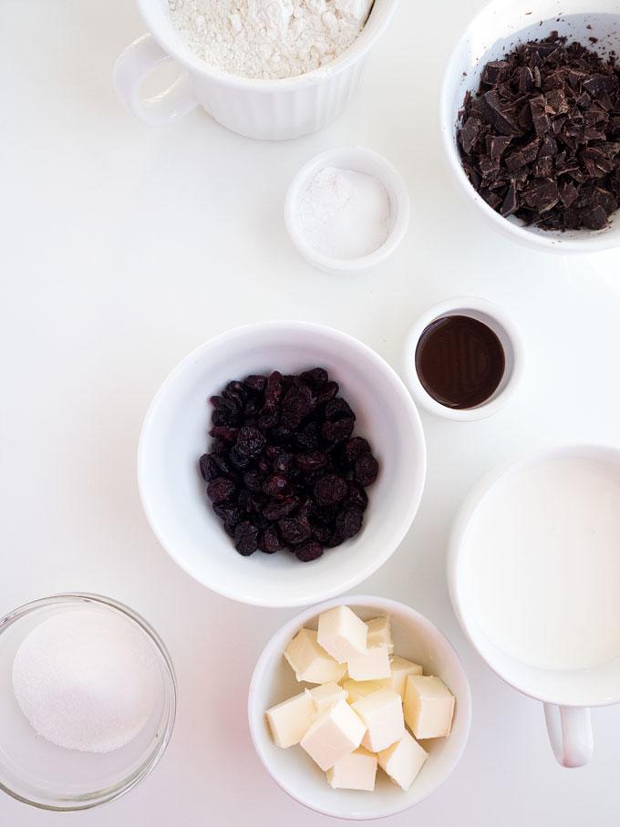 Dark Chocolate Cranberry Scones Recipe   The Kitchen Paper