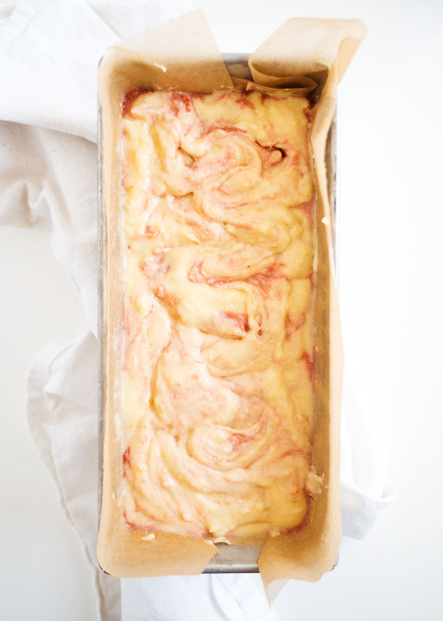 Orange Rhubarb Swirl Pound Cake | thekitchenpaper.com