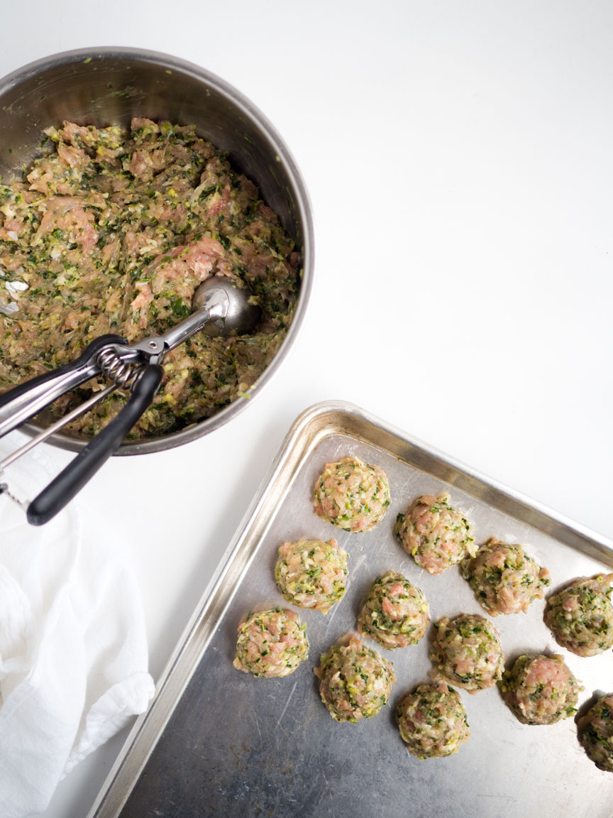Lemongrass Chicken Kale Meatballs | thekitchenpaper.com