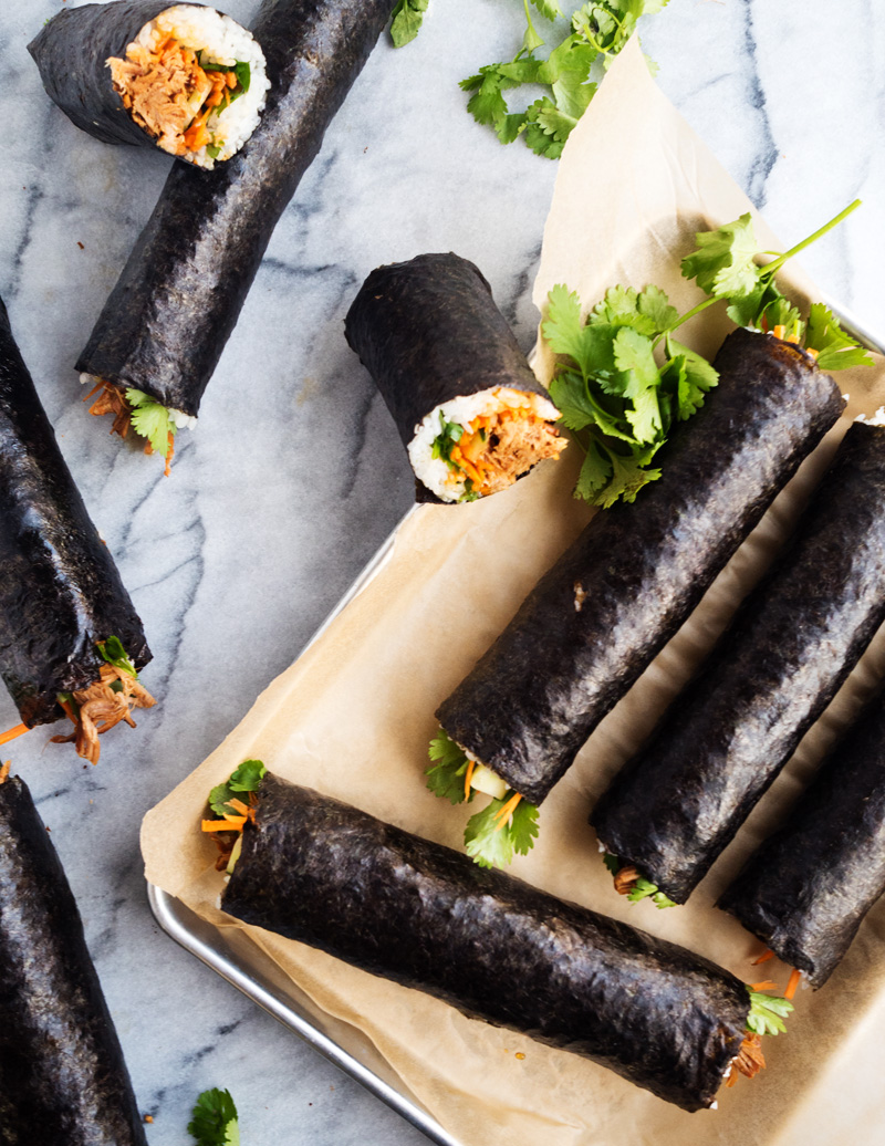 Korean Pulled Pork Nori Rolls | The Kitchen Paper
