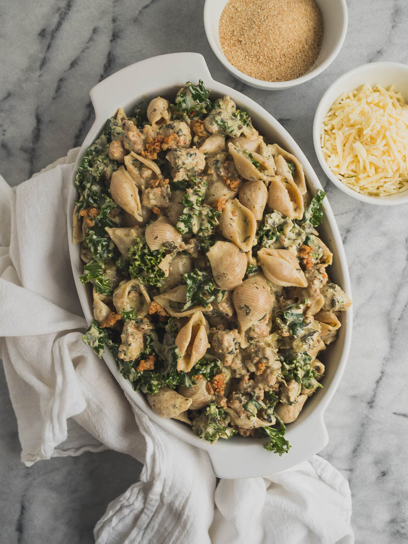 Spicy Sausage, Spinach, & Kale Baked Pasta | The Kitchen Paper