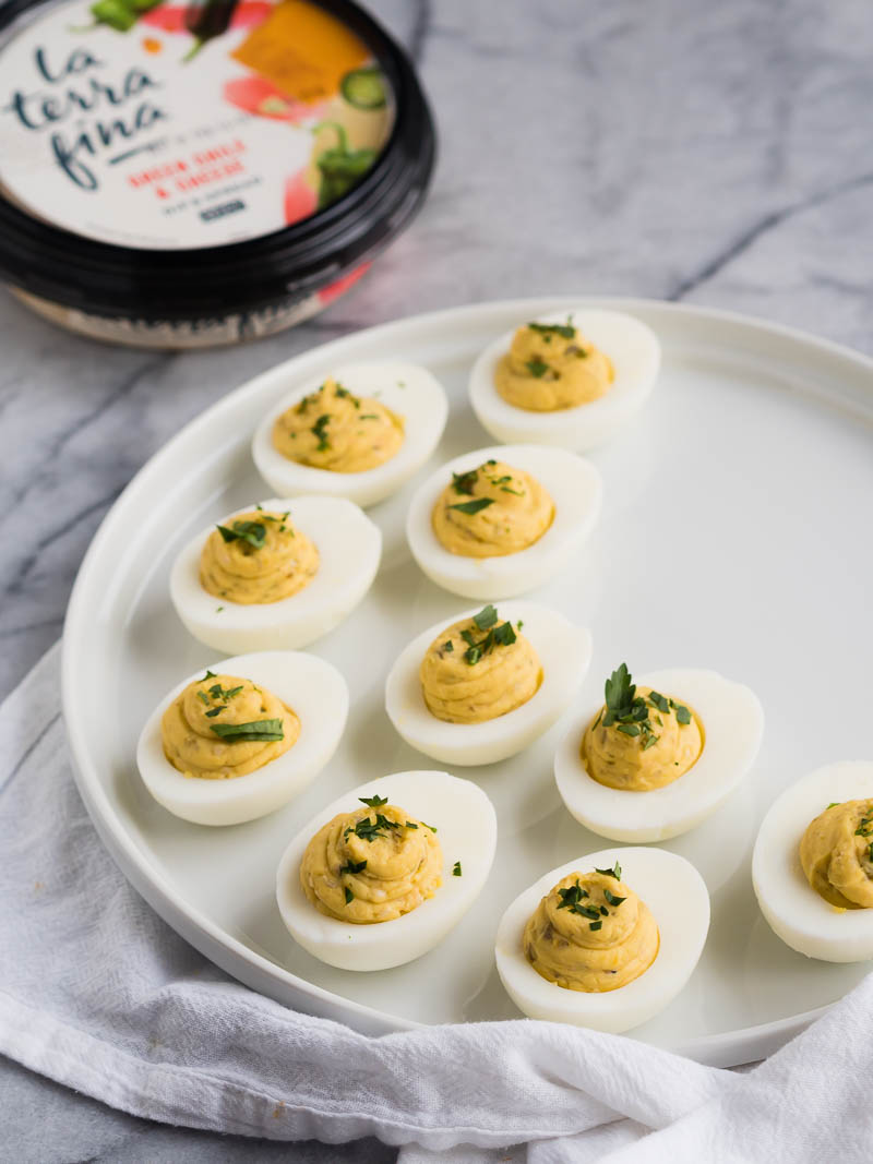 Green Chile & Cheese Deviled Eggs | The Kitchen Paper