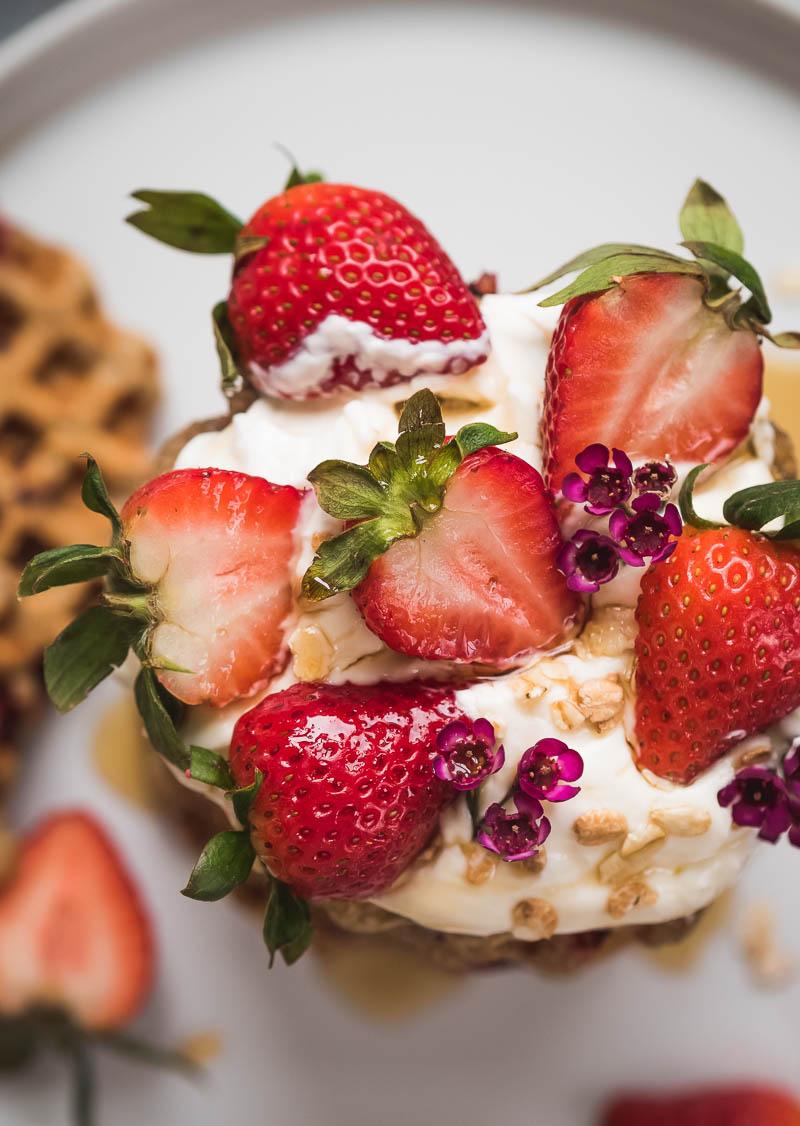 Vegan Strawberry Oat Waffles   The Kitchen Paper