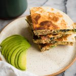 White Cheddar, Sausage, Kale Breakfast Quesadilla | The Kitchen Paper
