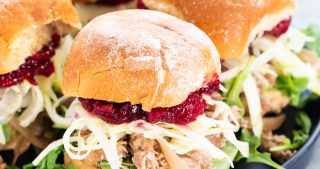Cranberry Pulled Pork Sliders with Apple Fennel Slaw | The Kitchen Paper