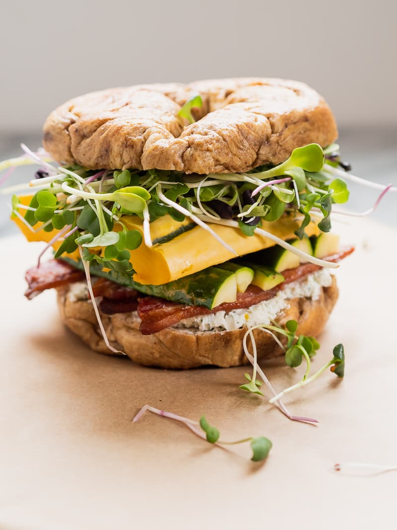 Fall Squash Sandwich on Pumpkin Spice Bagel | The Kitchen Paper