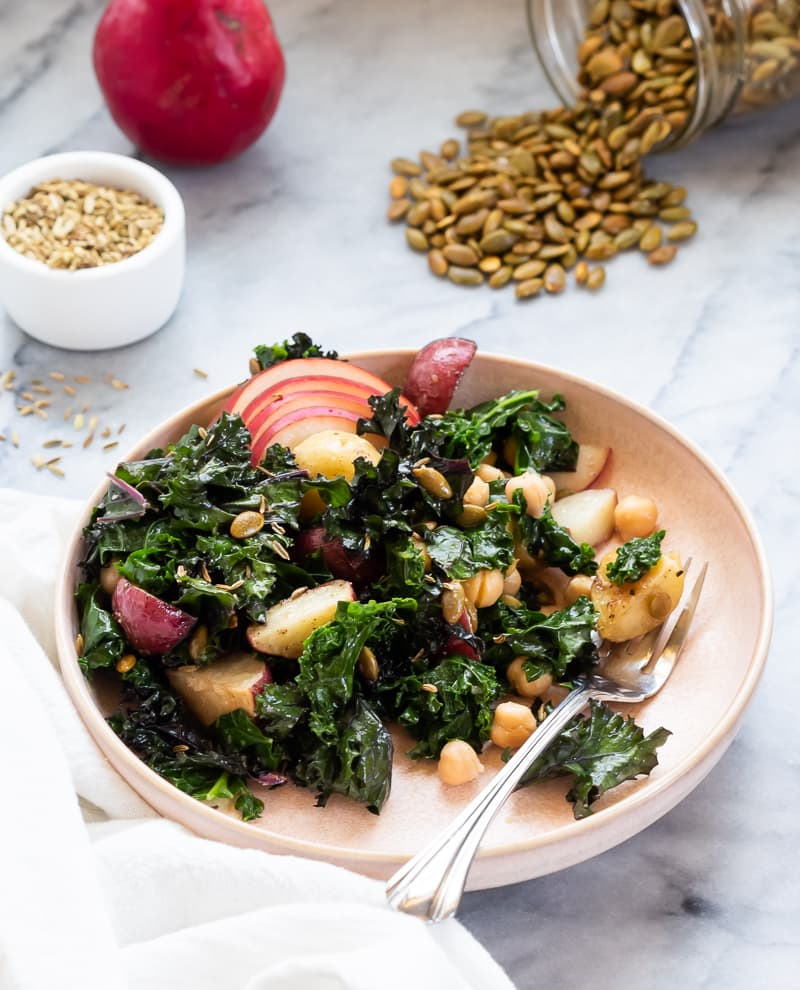 Kale Chickpea Salad with Creamy Miso Dressing | The Kitchen Paper