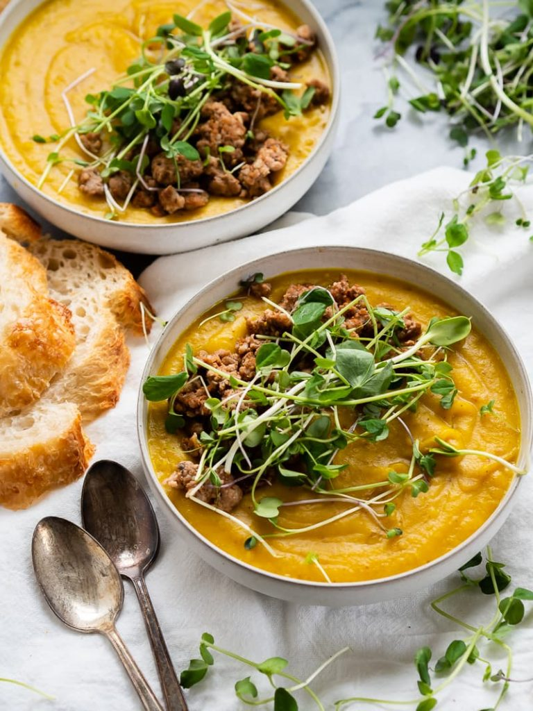 Turmeric Sausage Potato Soup | The Kitchen Paper