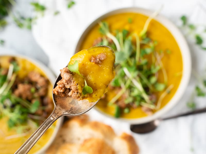 Turmeric Sausage Potato Soup Recipe | The Kitchen Paper